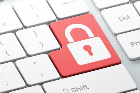 Veiligheidsconcept: Enter toets met gesloten hangslot op de computer toetsenbord achtergrond, 3d render Stockfoto