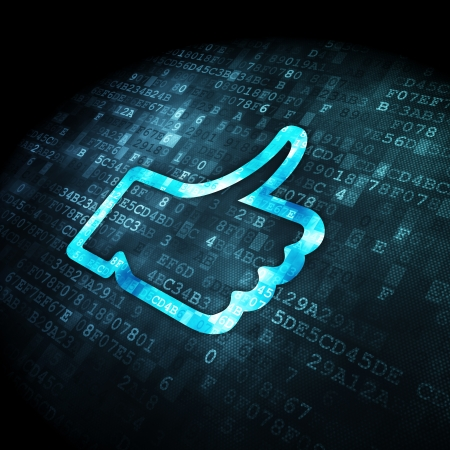 Social network concept: pixelated Like icon on digital background, 3d render Stock Photo - 22321227