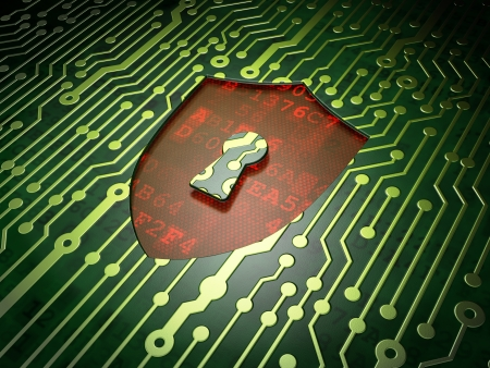 Protection concept: circuit board with Shield With Keyhole icon, 3d render Stock Photo - 22321230