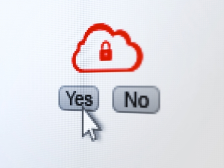 no cloud: Cloud computing concept: buttons yes and no with pixelated Cloud With Padlock icon and Arrow cursor on digital computer screen, selected focus 3d render Stock Photo