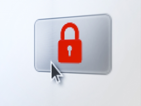 Security concept: pixelated Closed Padlock on button with Arrow cursor on digital computer screen, selected focus 3d render photo