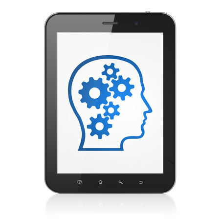 Information concept: black tablet pc computer with Head With Gears icon on display. Modern portable touch pad on White background, 3d render photo
