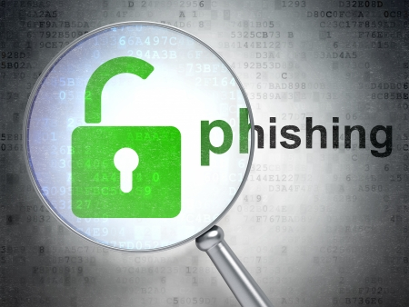 Security concept: magnifying optical glass with Opened Padlock icon and Phishing word on digital background, 3d render Stock Photo - 22321249