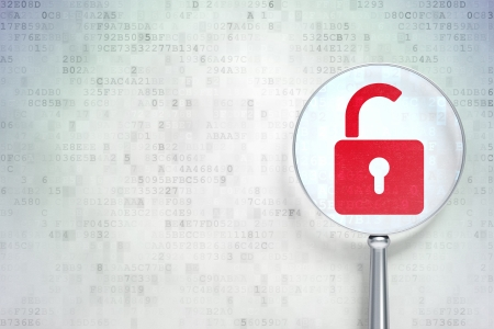Safety concept: magnifying optical glass with Opened Padlock icon on digital background, empty copyspace for card, text, advertising, 3d render