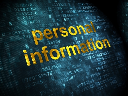 access granted: Protection concept: pixelated words Personal Information on digital background, 3d render Stock Photo
