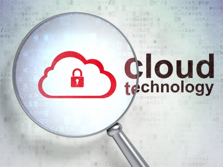 Cloud networking concept: magnifying optical glass with Cloud With Padlock icon and Cloud Technology word on digital background, 3d render photo