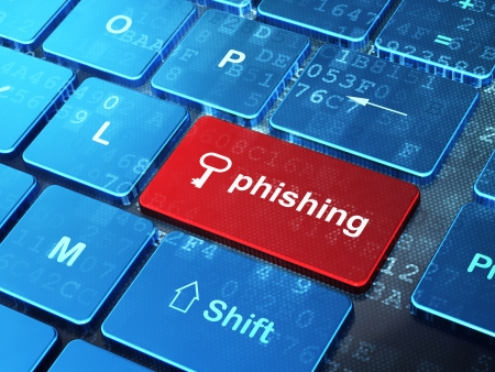 phishing: Safety concept: computer keyboard with Key icon and word Phishing on enter button background, 3d render Stock Photo
