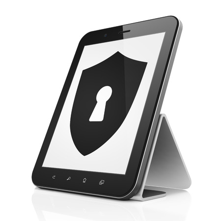 Security concept: black tablet pc computer with Shield With Keyhole icon on display. Modern portable touch pad on White background, 3d render photo