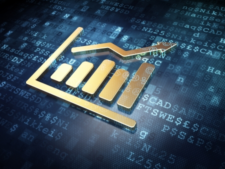 Finance concept: Golden Growth Graph on digital background, 3d render photo