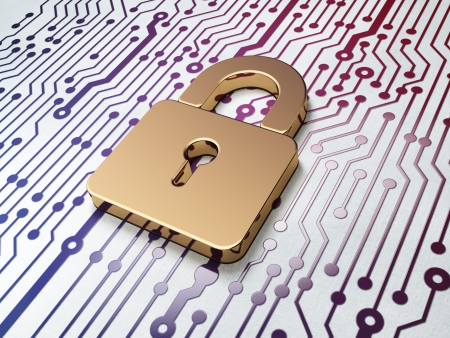 closed circuit: Data concept: Golden Closed Padlock on Circuit Board background, 3d render Stock Photo