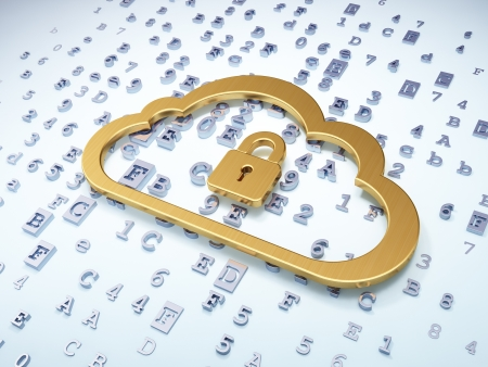 Cloud networking concept: Golden Cloud With Padlock on digital background, 3d render photo