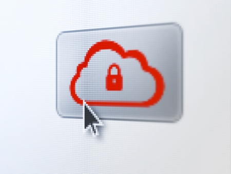 Cloud computing concept: pixelated Cloud With Padlock on button with Arrow cursor on digital computer screen, selected focus 3d render photo