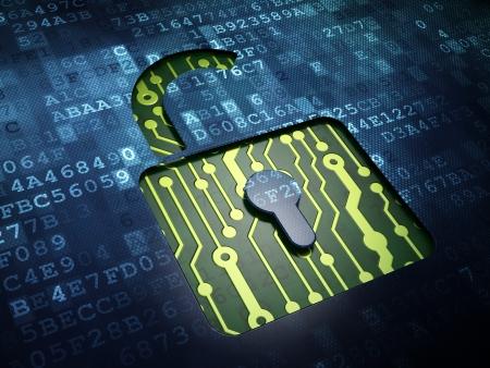 Veiligheidsconcept: digitaal scherm met een icoon geopend slot, 3D render