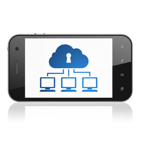Cloud computing concept: smartphone with Cloud Network icon on display. Mobile smart phone on White background, cell phone 3d render photo