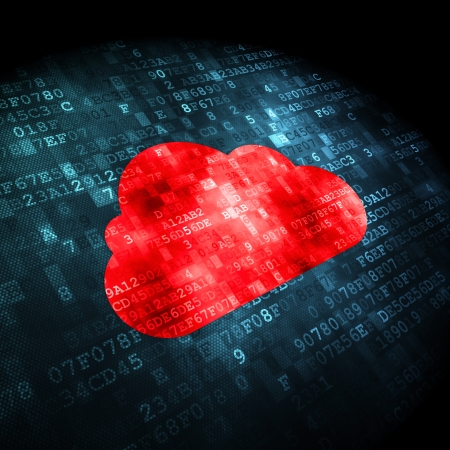 Cloud networking concept: pixelated Cloud icon on digital background, 3d render Stock Photo - 22344120