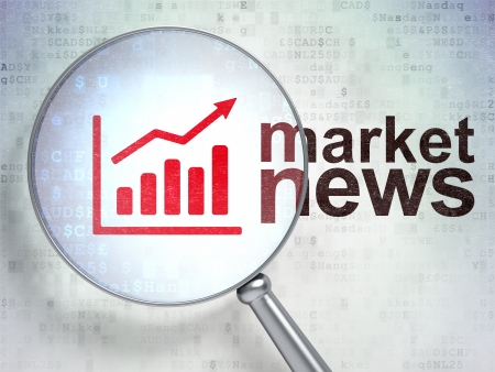 stock news: News concept: magnifying optical glass with Growth Graph icon and Market News word on digital background, 3d render Stock Photo