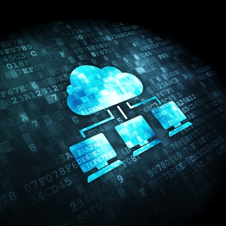 Cloud networking concept: pixelated Cloud Network icon on digital background, 3d render Stock Photo - 22344131