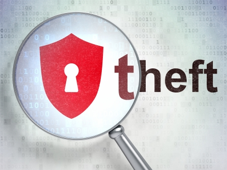 Protection concept: magnifying optical glass with Shield With Keyhole icon and Theft word on digital background, 3d render photo