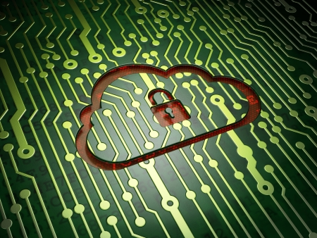 Cloud computing concept: circuit board with Cloud With Padlock icon, 3d render photo