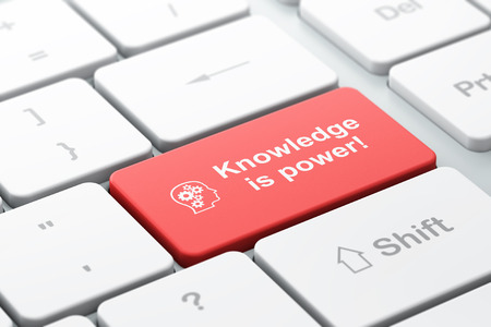 Education concept: computer keyboard with Head With Gears icon and word Knowledge Is power!, selected focus on enter button, 3d render photo
