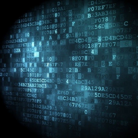 Concepto de la tecnología: código hexadecimal de fondo digital, 3D render Foto de archivo - 22344222