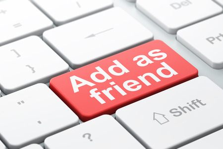 add as friend: Social media concept: computer keyboard with word Add as Friend, selected focus on enter button background, 3d render
