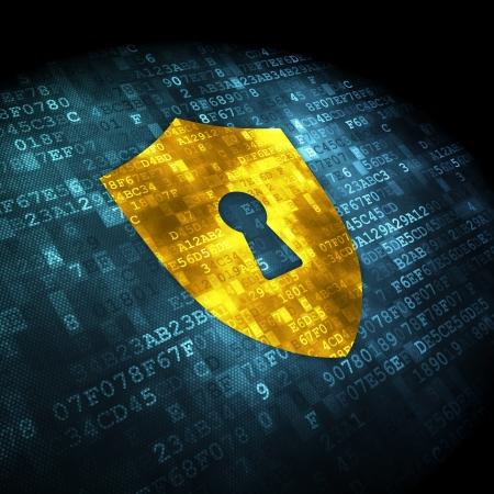 Veiligheidsconcept: korrelig Schild Met Sleutelgat pictogram op digitale achtergrond, 3d render