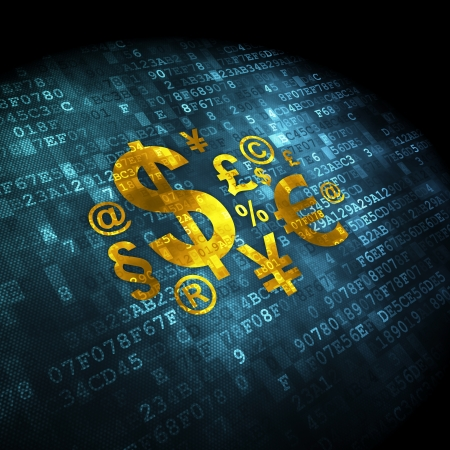 finance background: Marketing concept: pixelated Finance Symbol icon on digital background, 3d render
