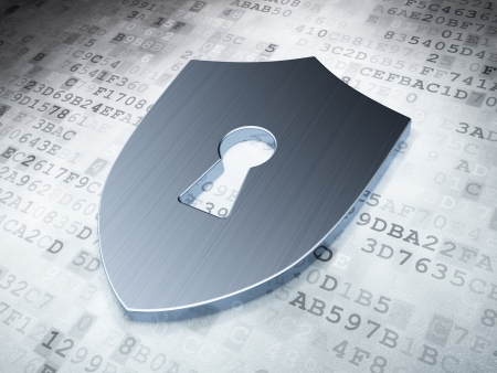 Safety concept: Silver Shield With Keyhole on digital background, 3d render