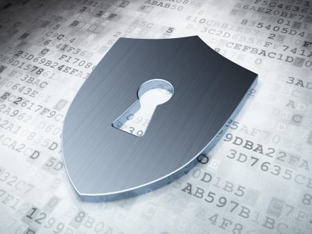 Sicherheitskonzept: Silver Shield mit Schlüsselloch auf digitale Hintergrund, 3d render