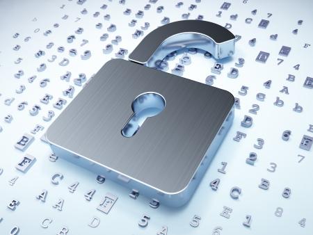 개인 정보 보호 개념 : 디지털 배경에 실버 열린 자물쇠, 3d 렌더링