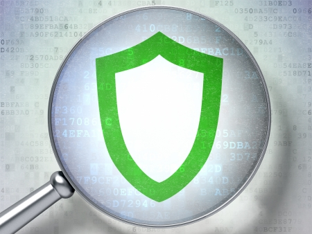 Security concept: magnifying optical glass with Contoured Shield icon on digital background, 3d render photo