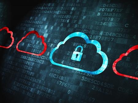 Cloud-Technologie-Konzept: pixelig Wolke Mit Vorhängeschloss-Symbol auf digitale Hintergrund, 3d render Lizenzfreie Bilder