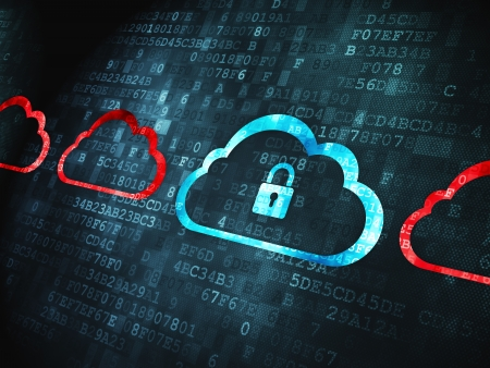 secure data: Cloud technology concept: pixelated Cloud With Padlock icon on digital background, 3d render Stock Photo