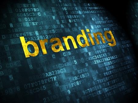 Marketing concept: pixelated words Branding on digital background, 3d render photo