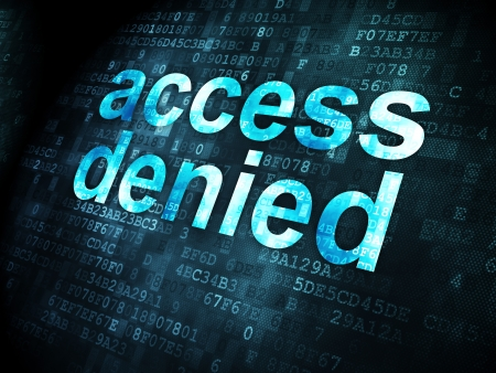 denied: Protection concept: pixelated words Access Denied on digital background, 3d render