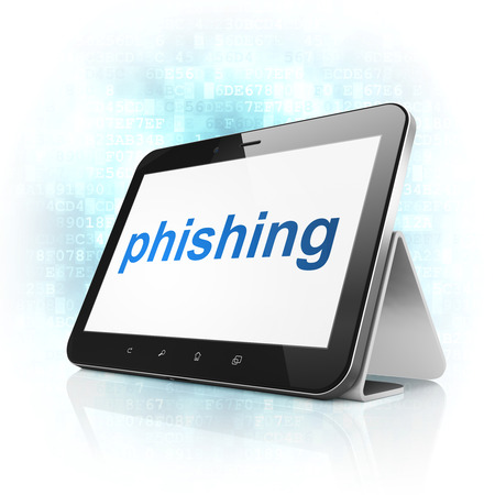 Privacy concept: black tablet pc computer with text Phishing on display. Modern portable touch pad on Blue Digital background, 3d render Stock Photo - 22344388