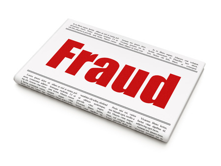 Protection news concept: newspaper headline Fraud on White background, 3d render photo