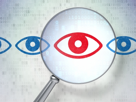 Protection concept: magnifying optical glass with Eye icons on digital background, 3d render photo