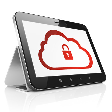 Cloud computing concept: black tablet pc computer with Cloud With Padlock icon on display. Modern portable touch pad on White background, 3d render photo