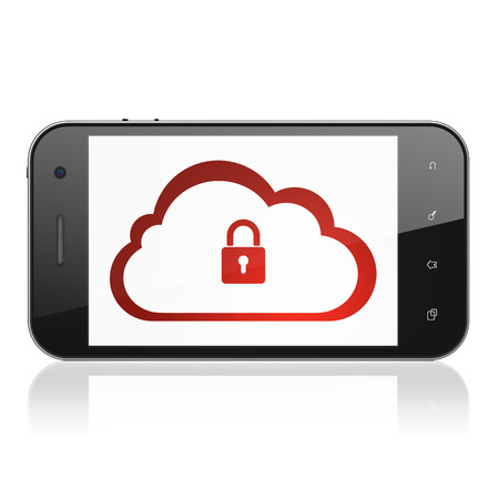 Cloud computing concept: smartphone with Cloud With Padlock icon on display. Mobile smart phone on White background, cell phone 3d render photo