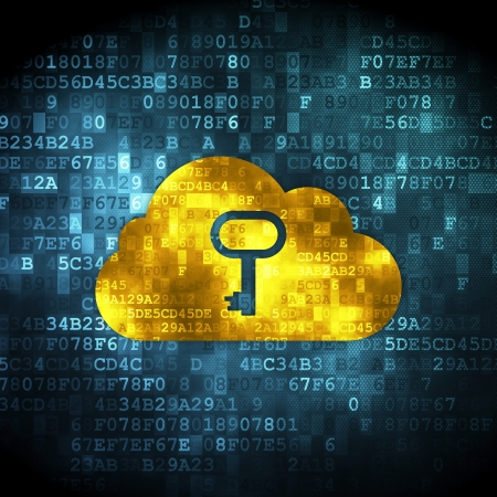 Cloud netwerkconcept: korrelig Wolk Met Sleutelpictogram op digitale achtergrond, 3d render