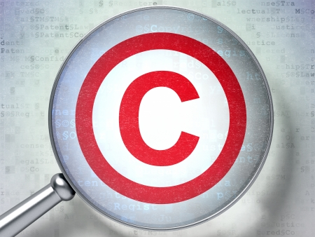 Law concept: magnifying optical glass with Copyright icon on digital background, 3d render photo