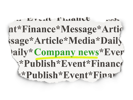 urgent announcement: News concept: torn newspaper with words Company News on Paper background, 3d render