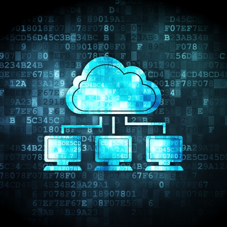 Cloud computing concept: pixelated Cloud Network icon on digital background, 3d render Stock Photo - 22344631