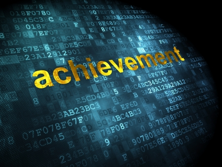 Education concept: pixelated words Achievement on digital background, 3d render photo