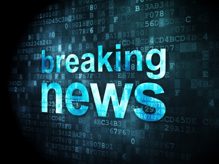 breaking the code: News concept: pixelated words Breaking News on digital background, 3d render