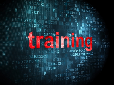 Education concept: pixelated words Training on digital background, 3d render photo