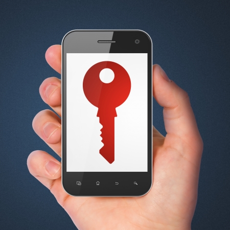 Safety concept: hand holding smartphone with Key on display. Mobile smart phone in hand on Blue , 3d render photo