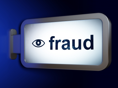 Privacy concept: Fraud and Eye on advertising billboard background, 3d render photo